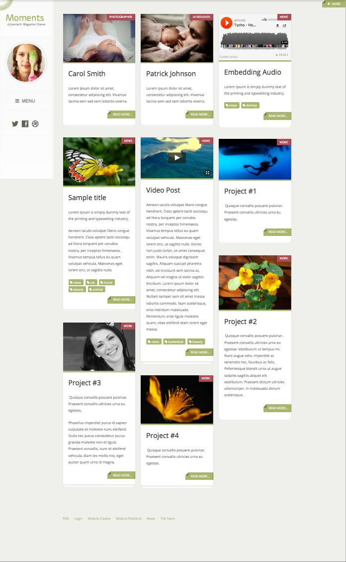 Moments Joomla Magazine Template