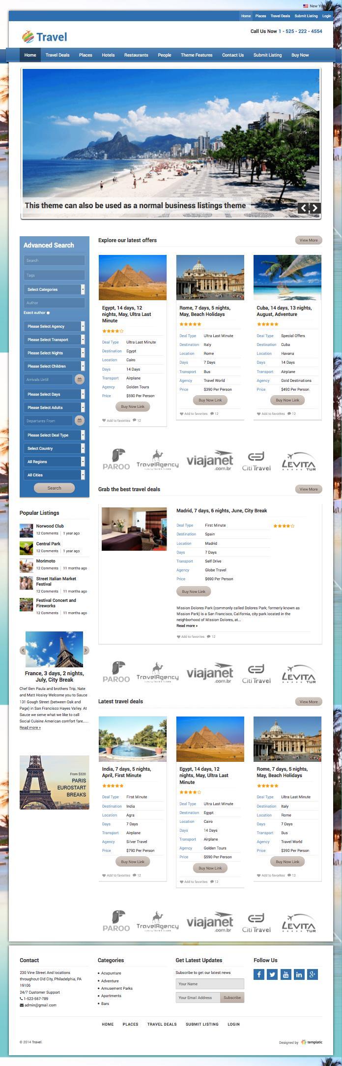 Travel WordPress Portal Theme
