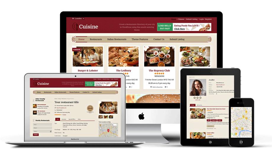 Cuisine Responsive WordPress Bistro Theme
