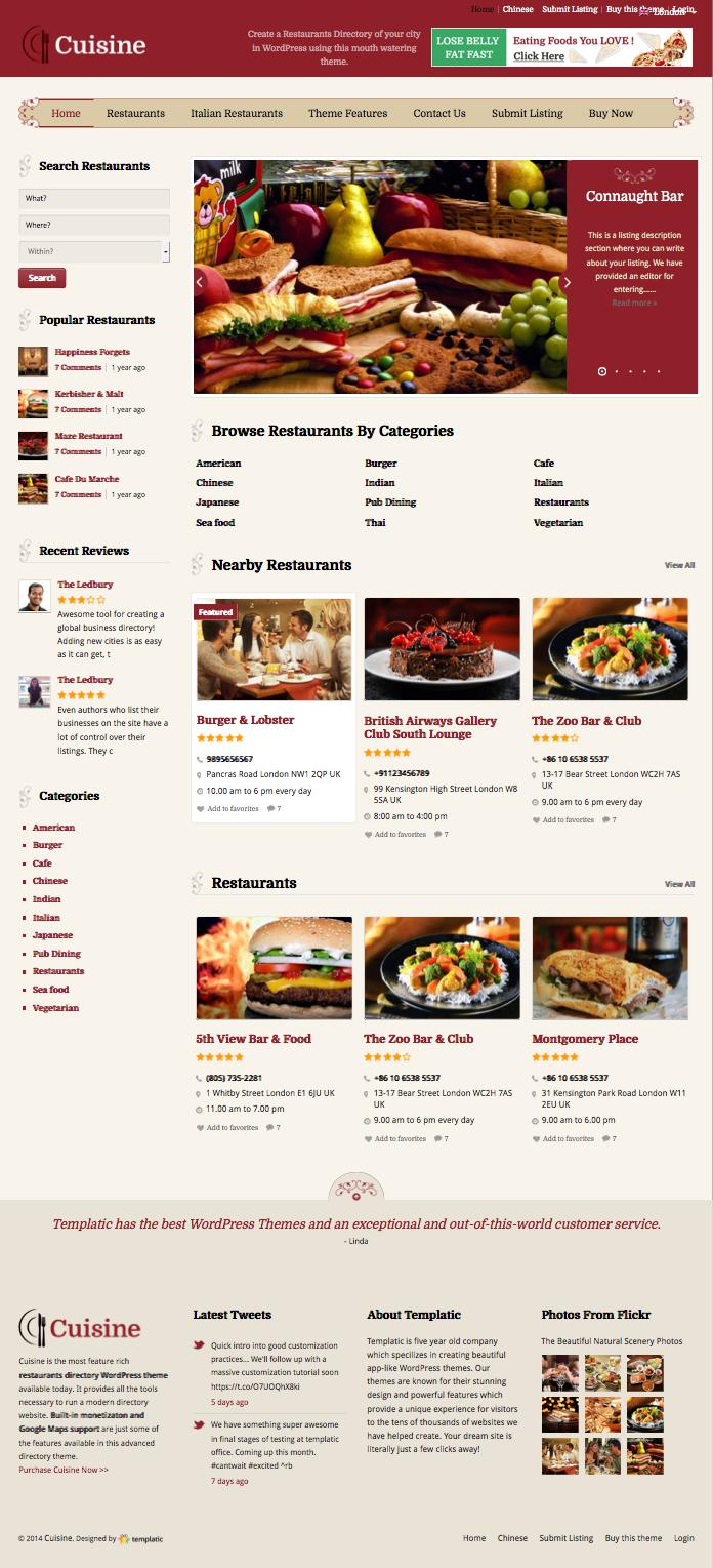 Cuisine WordPress Restaurant Directory Theme