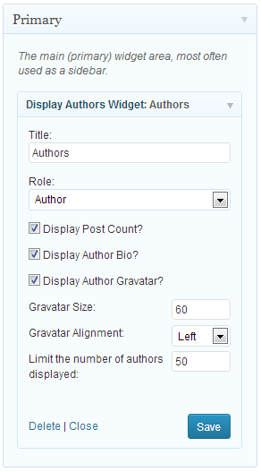 Display Authors Widget for WP