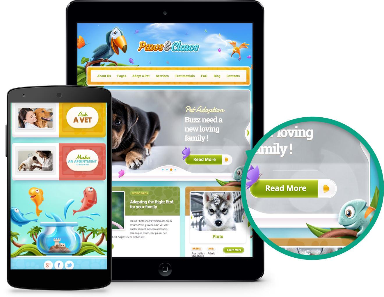 Responsive Web Design Paws Claws Theme