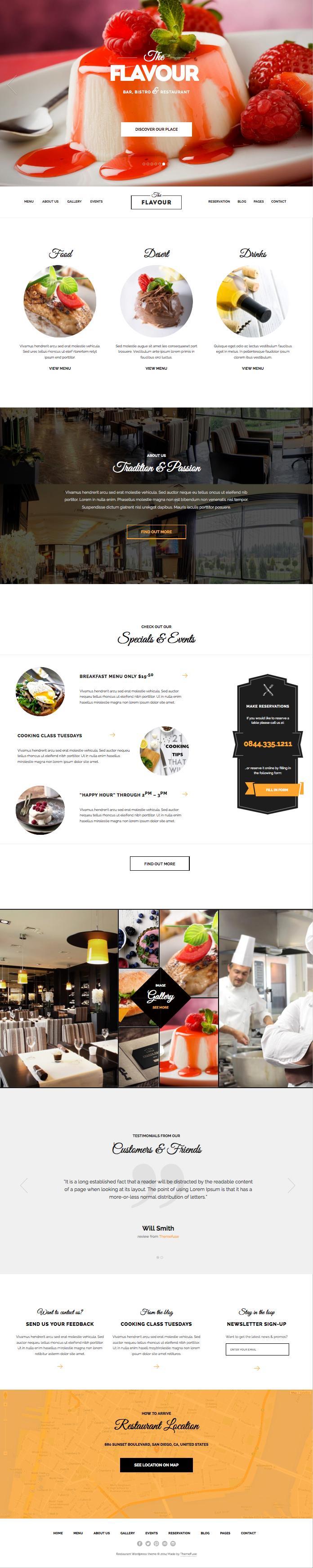 The Flavour WordPress Modern Restaurant Theme