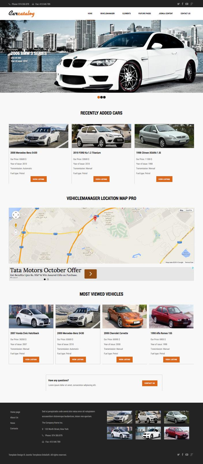 Car Catalog Joomla Private Auto Dealers Template