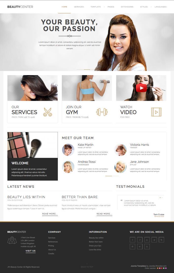 JM Beauty Center Joomla Hairdresser Template