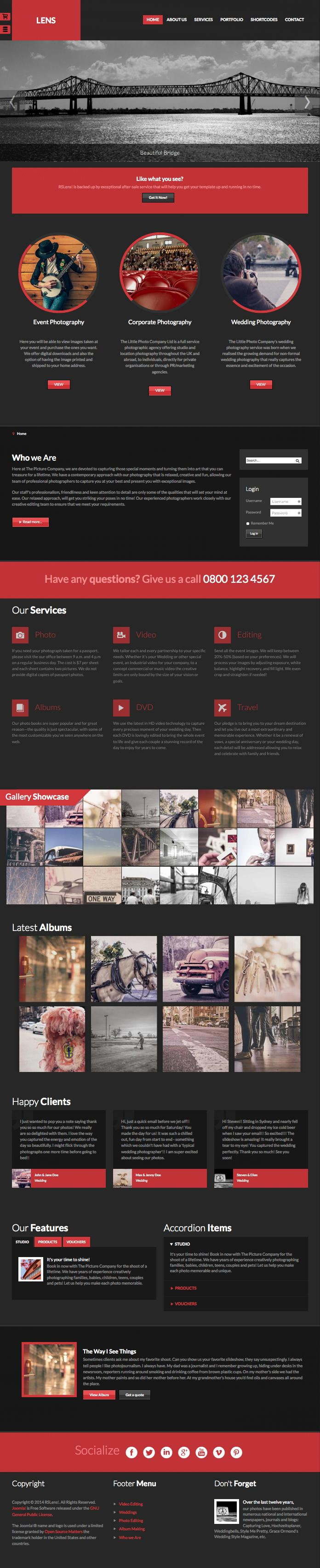 RSLens Joomla Events Photography Template