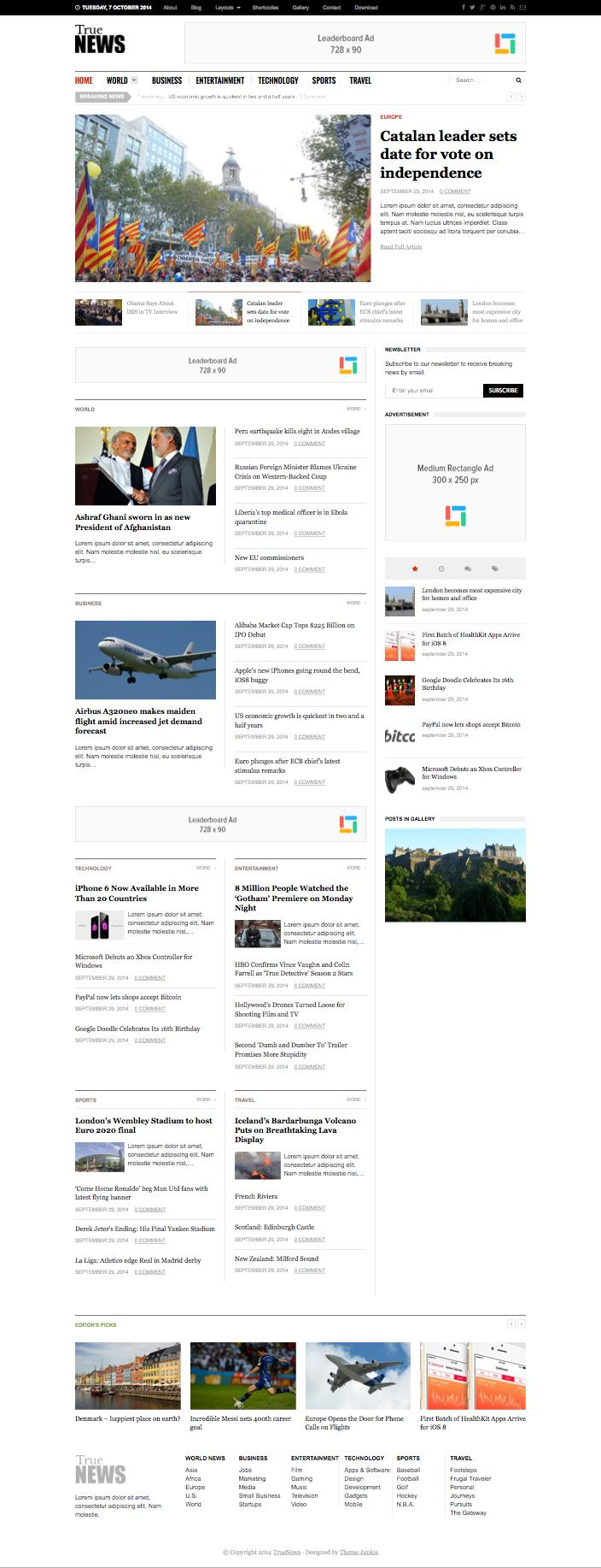 TrueNews WordPress Journal Theme