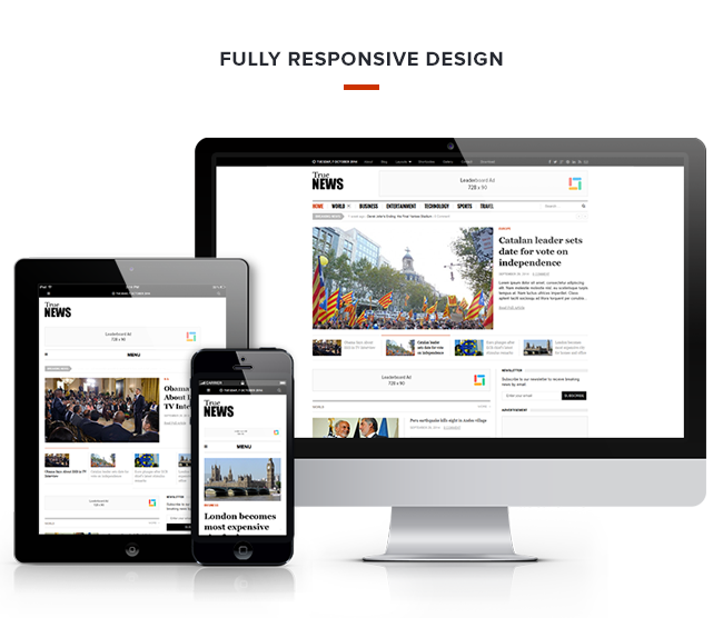 TrueNews WordPress Responsive Magazine Theme