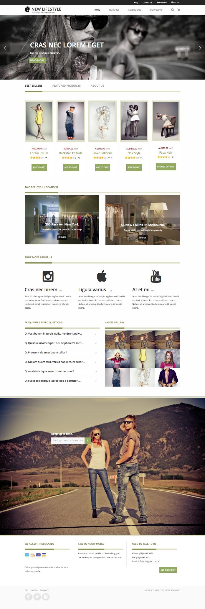 New lifestyle joomla template for magazine ecommerce for Lifestyle e commerce