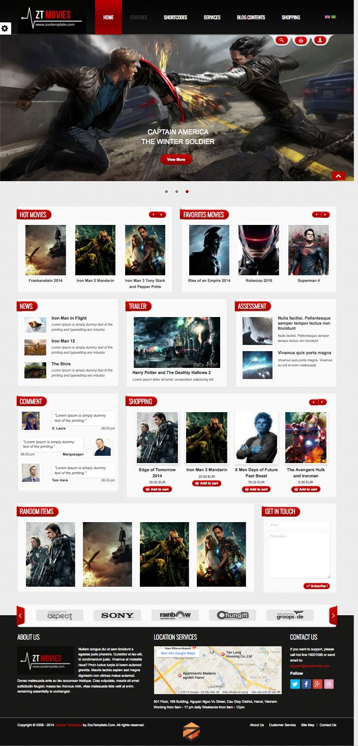 ZT Movie Joomla Movie or Film Template