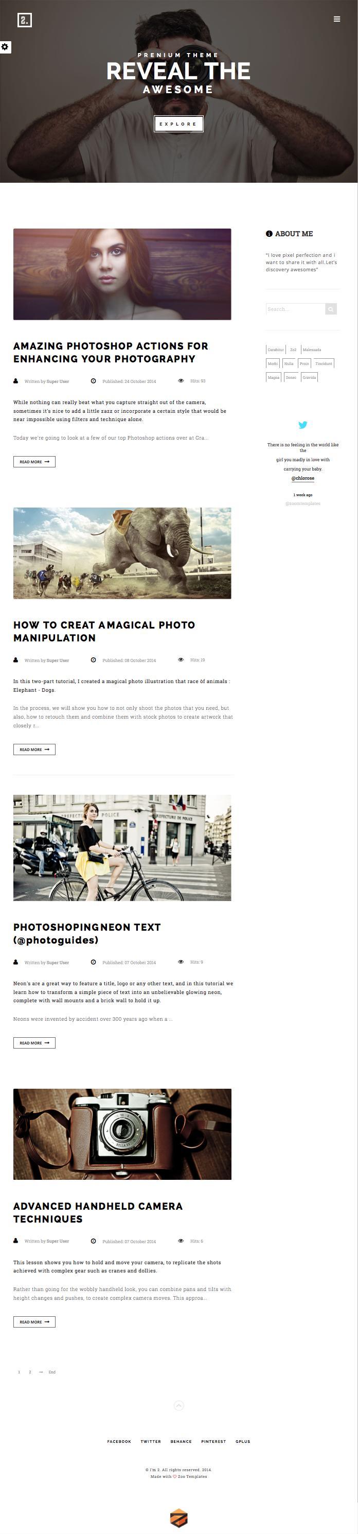 ZT Two Joomla Creative Blogger Template