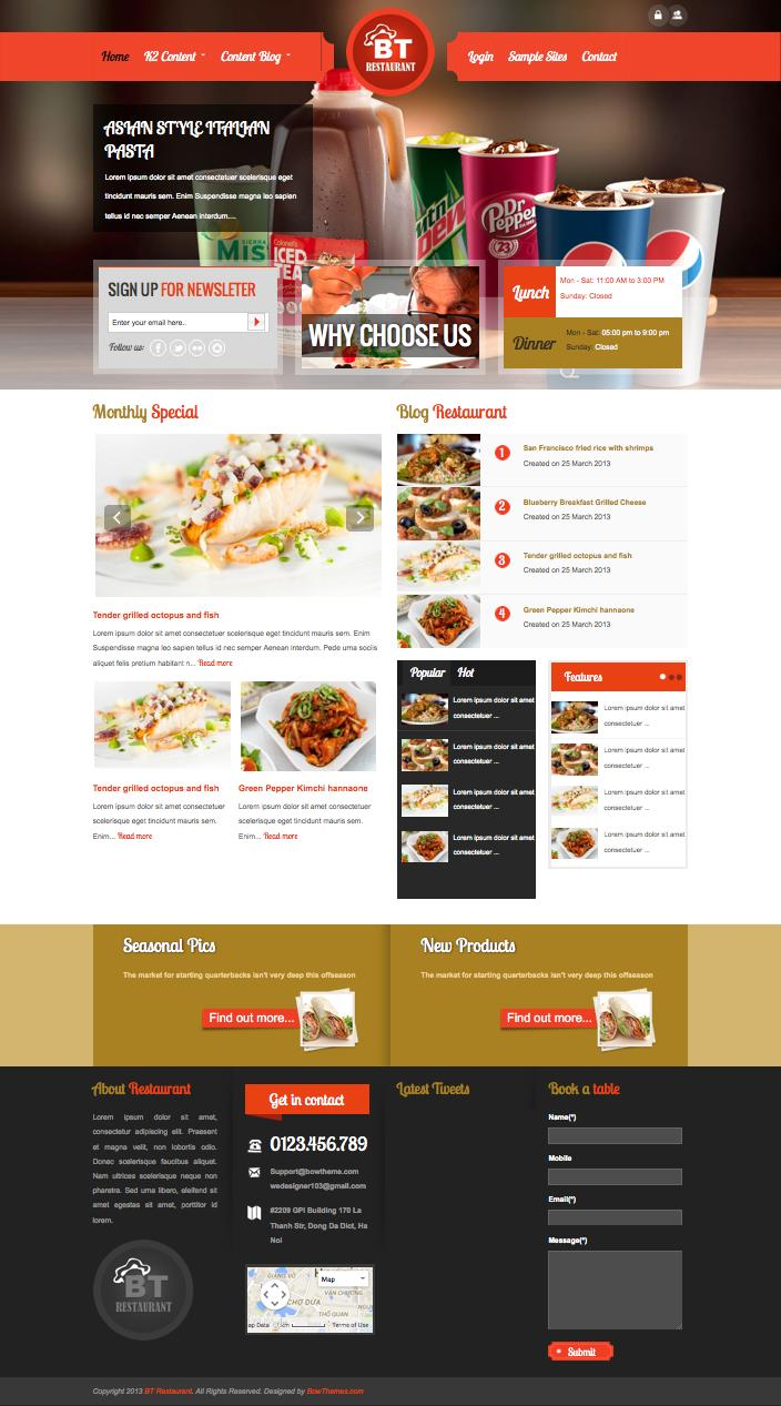 joomla hotel template - bt restaurant joomla template for hotel coffee shop owners