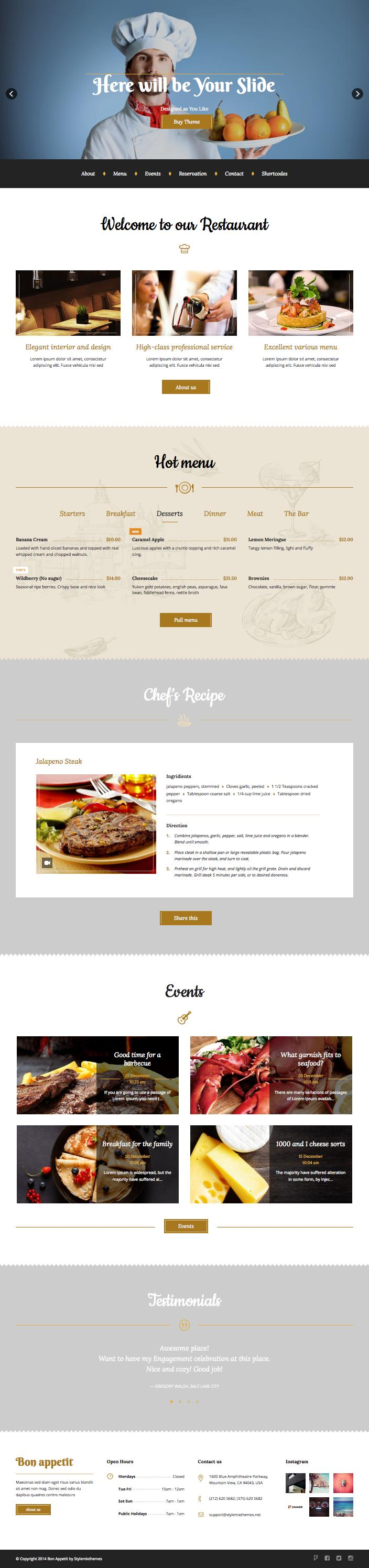 Bon Appetit WordPress Coffee Shop Theme