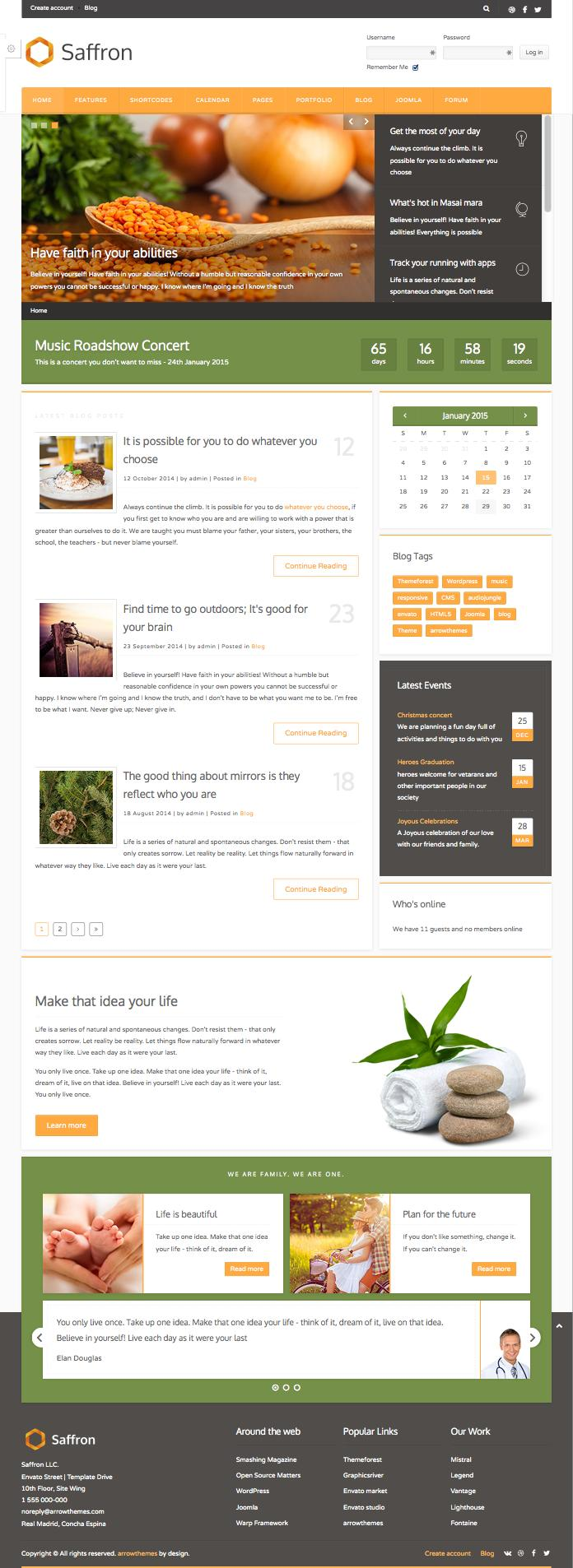 Saffron Joomla Business Blog Layout Template