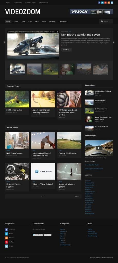Videozoom 4.0 WordPress Video Blog Theme