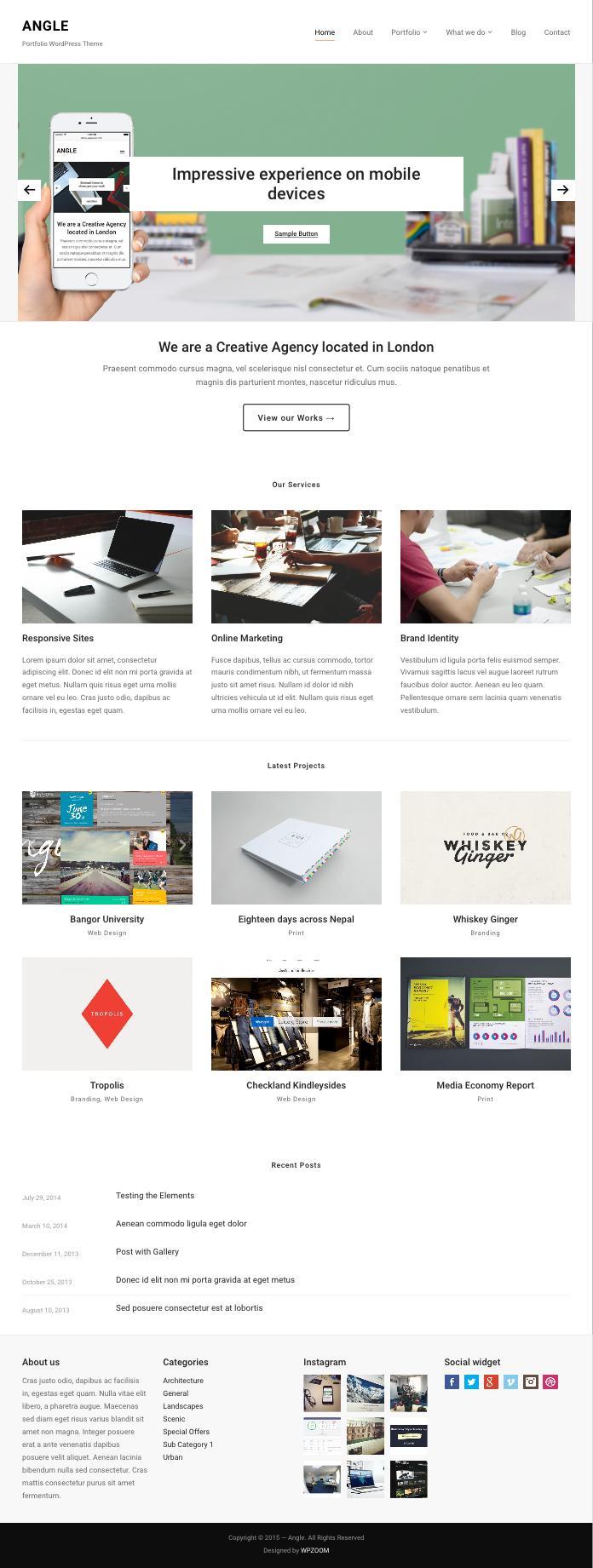 Angle WordPress Minimal Portfolio Theme