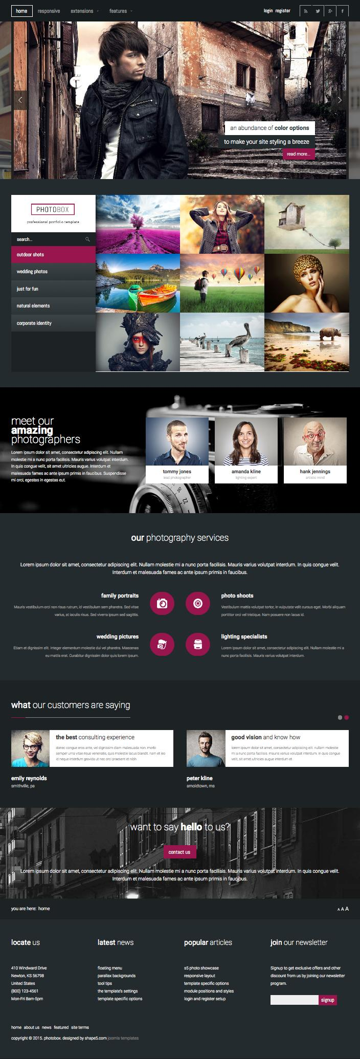 Photobox Responsive Joomla Portfolio Template