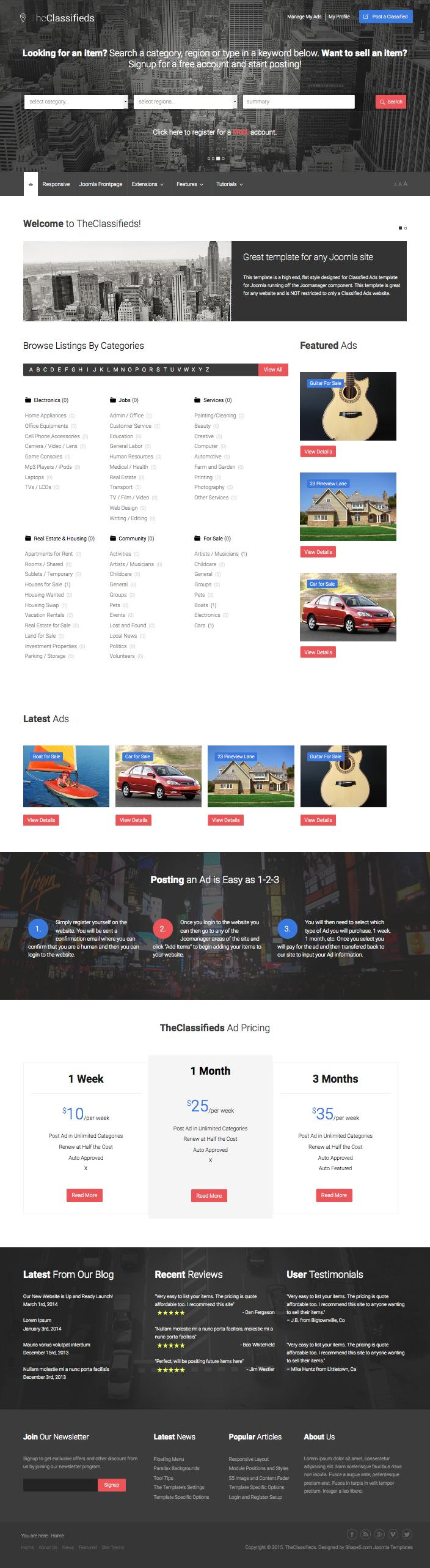TheClassifieds Ads Listing Directory Joomla Template