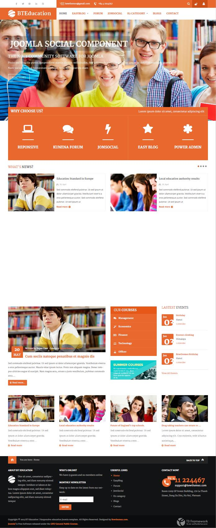 BT Education Joomla Social Networks Template
