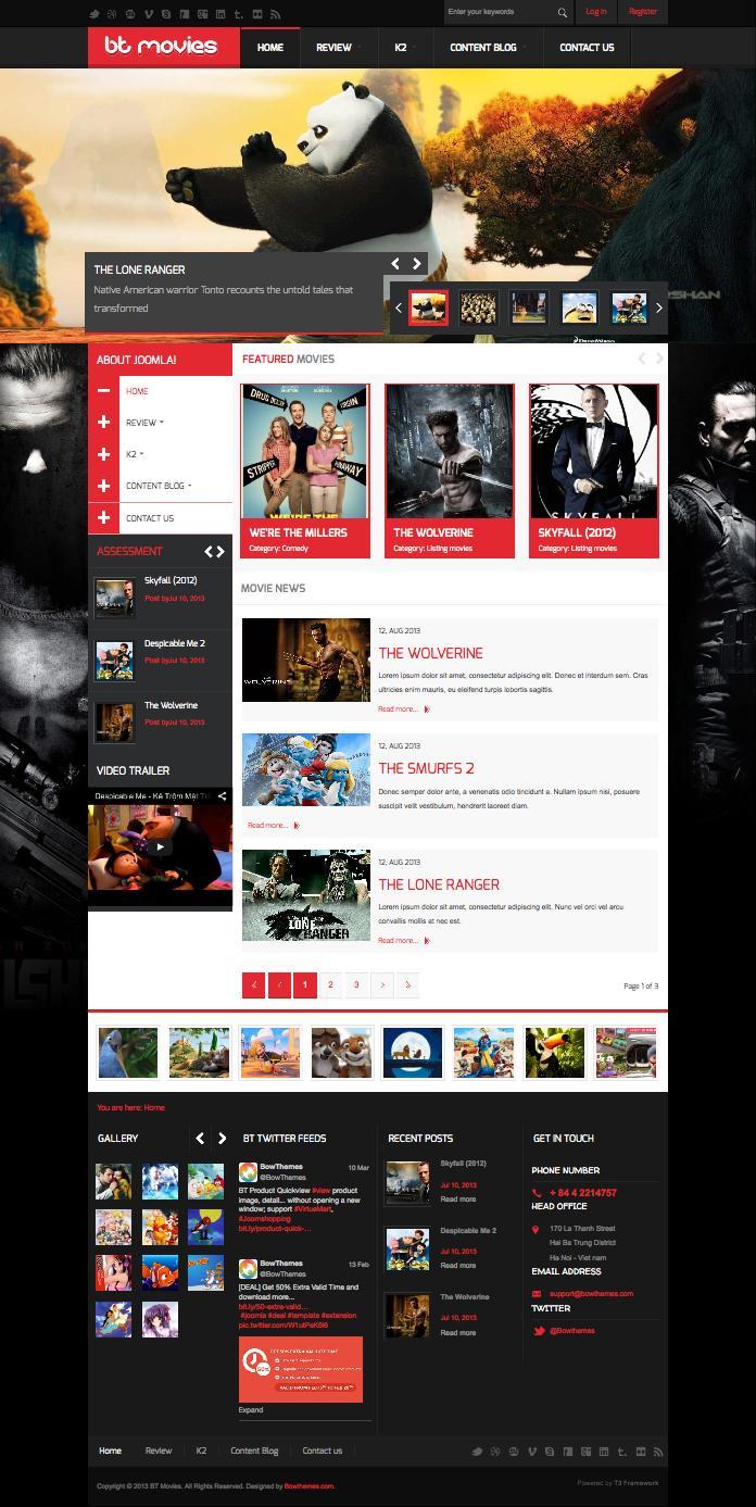 BT Movies Joomla Movie Review Template