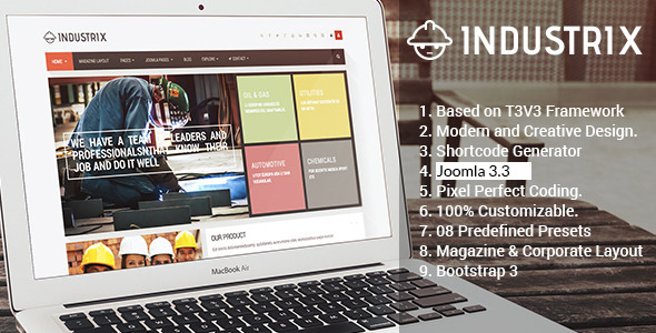 Industrix Joomla Responsive Corporate Layout Template
