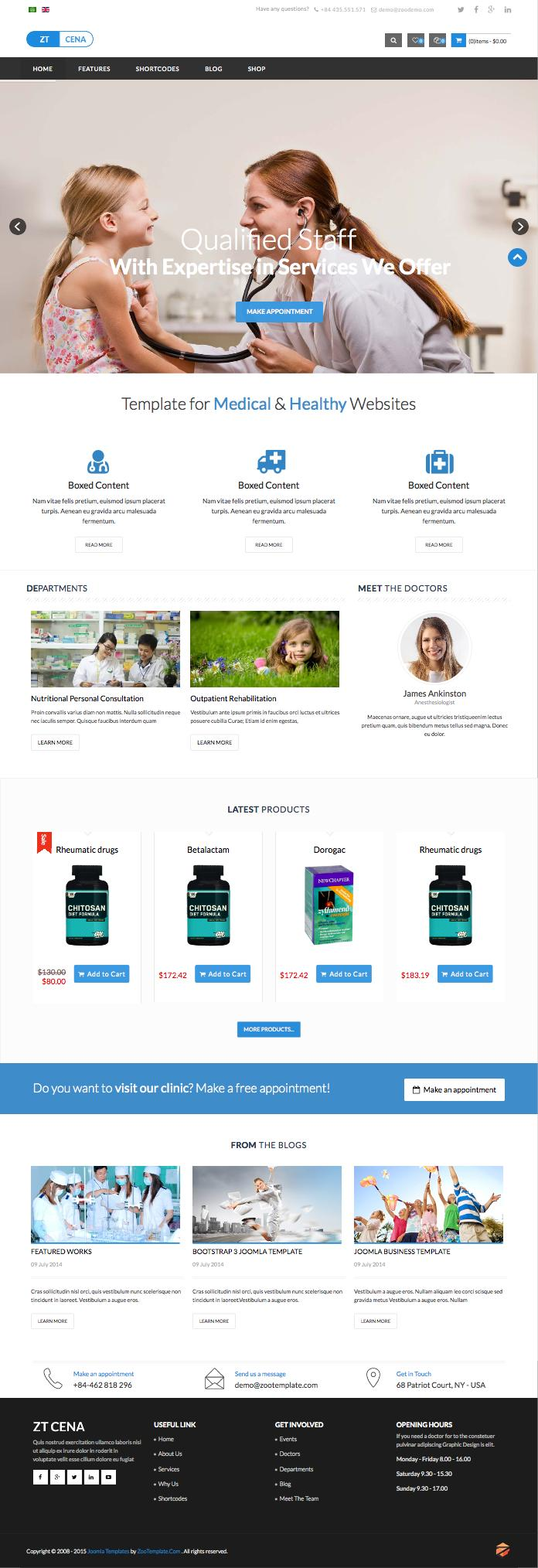 ZT Cena Joomla Medical & Healthy Services Template