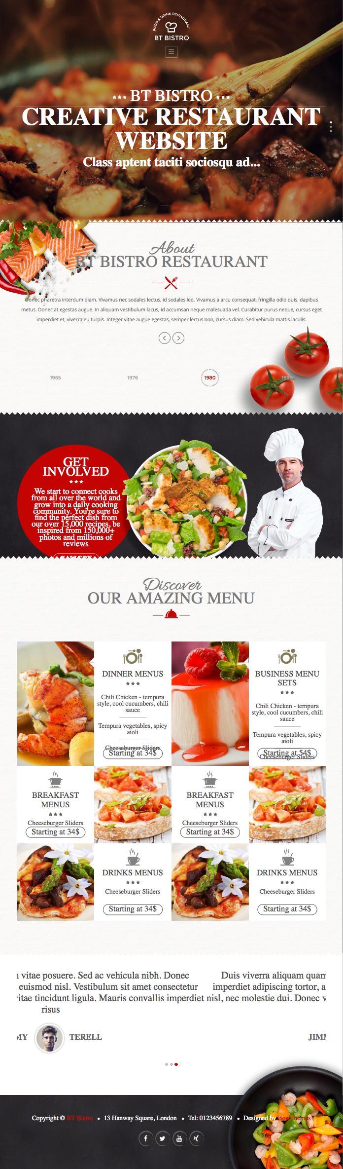 BT Bistro Joomla Restaurant & Food Template