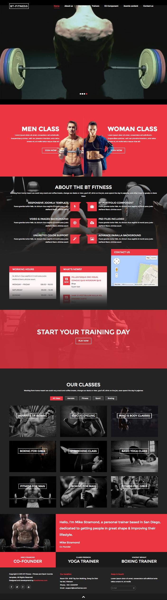 BT Fitness Joomla Personal Trainers : Sports Center Template