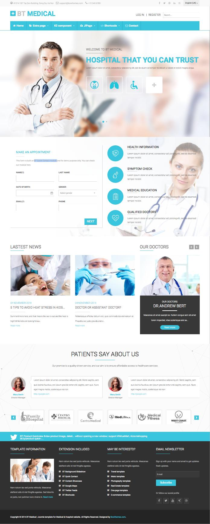 Hospital Joomla Templates BT Medical Joomla Template for Hospital & Doctors