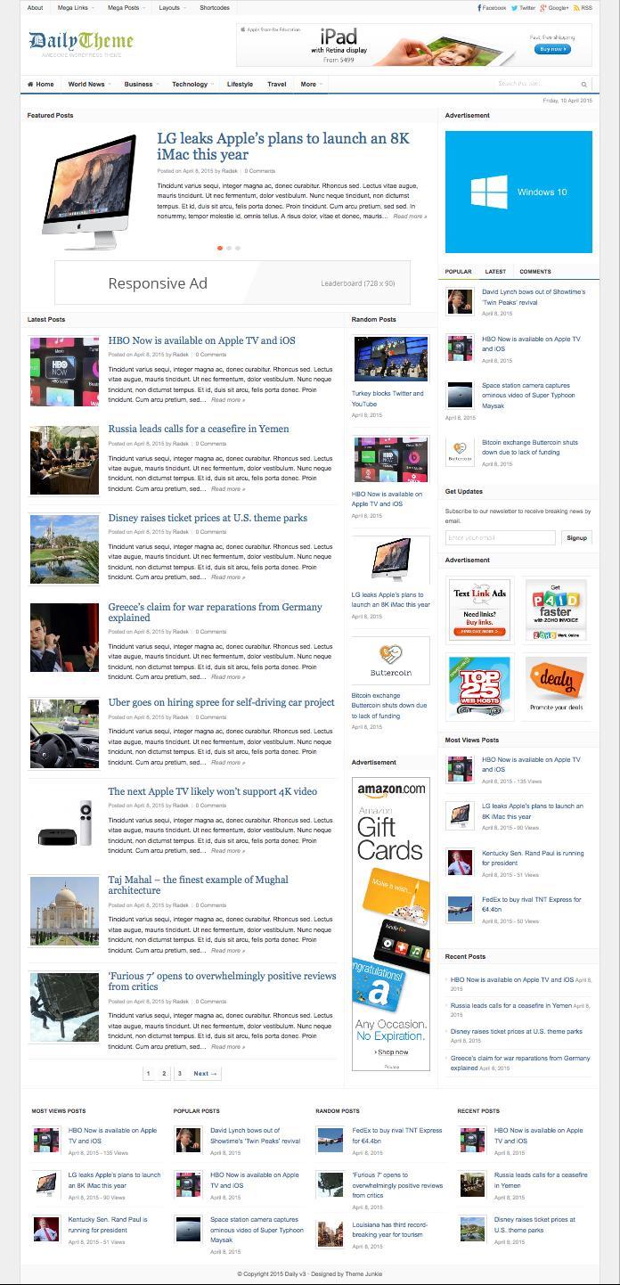 Daily v3.0 WordPress Online Magazine Theme