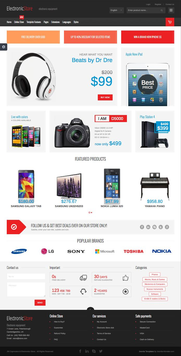 JM Computers & Electronics Joomla VirtueMart Store Template