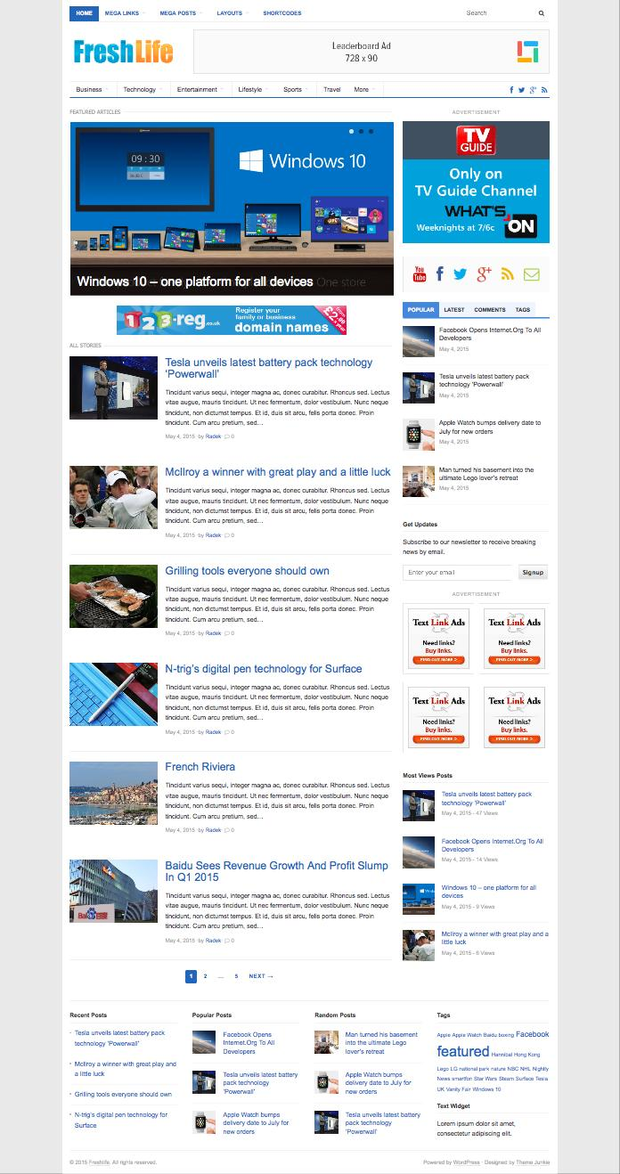 FreshLife 3.0 WordPress Newspapers Community Theme