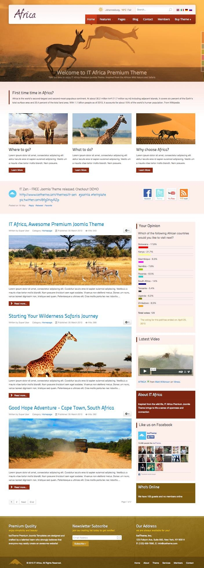 it africa joomla wild life template for biological park zoo