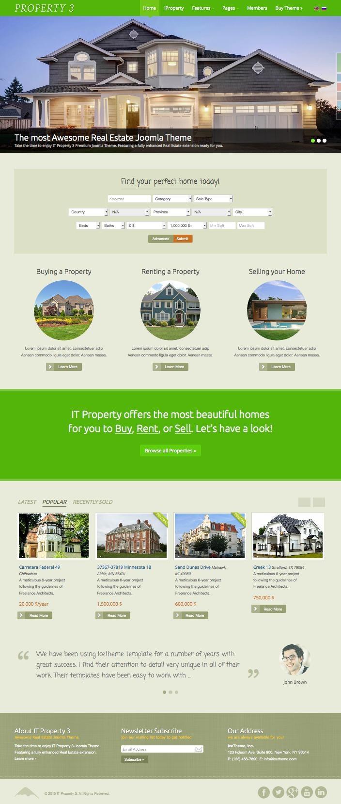 IT Property 3 Joomla Properties Rent Template