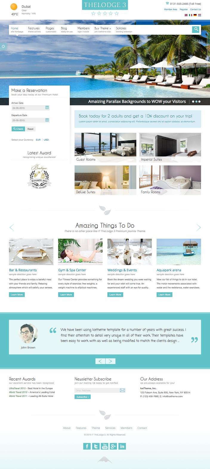 IT TheLodge 3 Joomla Hotel Room Reservation Template