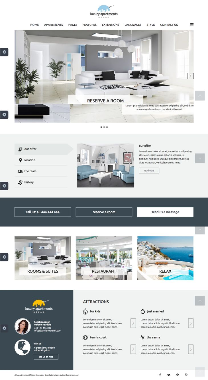 JM Apartments Joomla Restaurant Booking Template