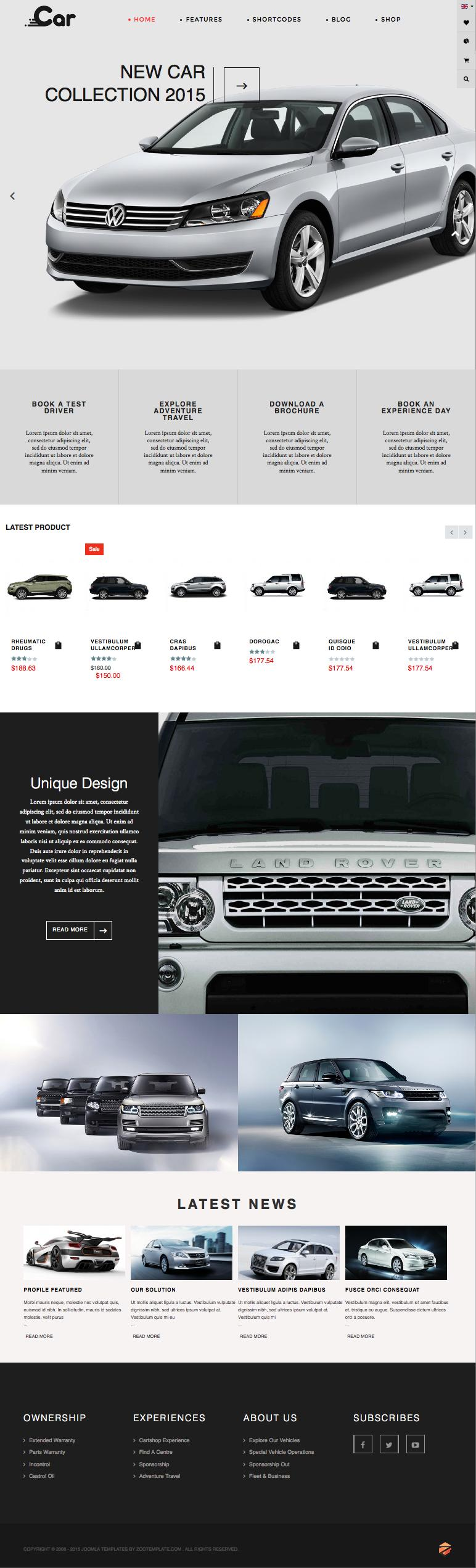 ZT Car Joomla Online Car Showrooms Template