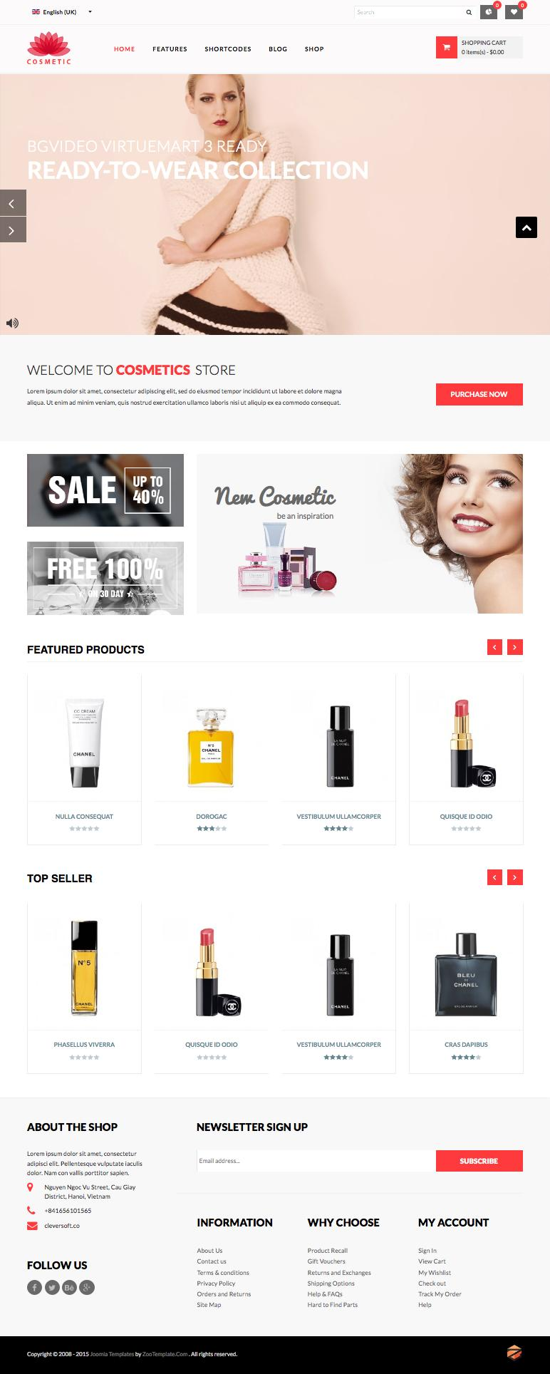 ZT Cosmetic Joomla Make-Up Product Store Template