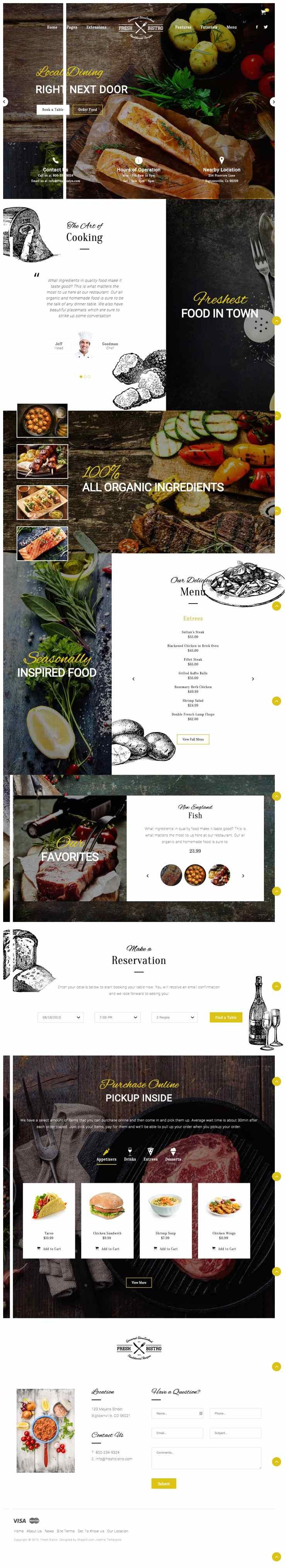 Fresh Bistro Joomla Restaurant or Dining Template