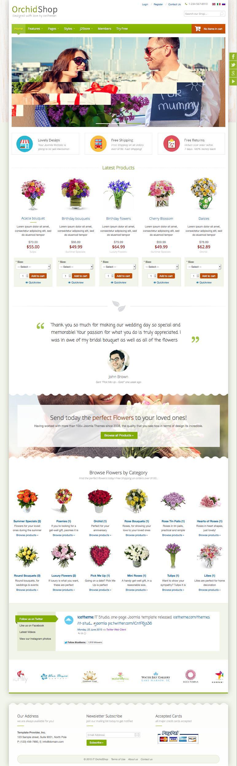 IT OrchidShop Joomla Flower Shop Template