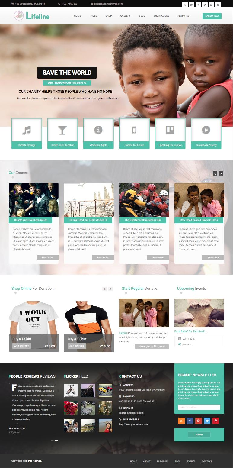 Lifeline WordPress Online Donations System  Theme