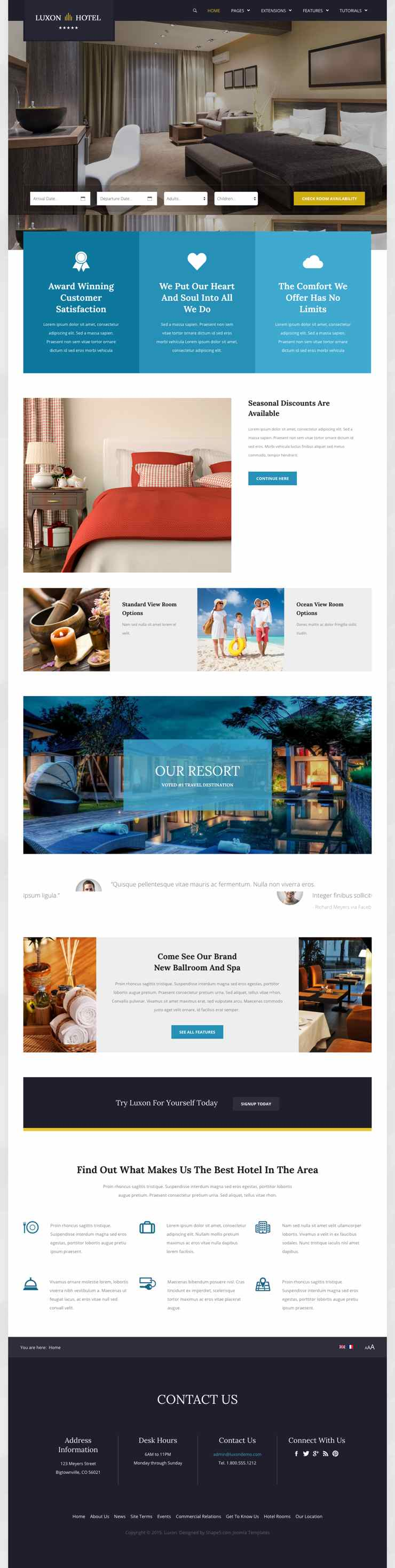 Luxon joomla resort or hotel accommodation template for Joomla hotel template