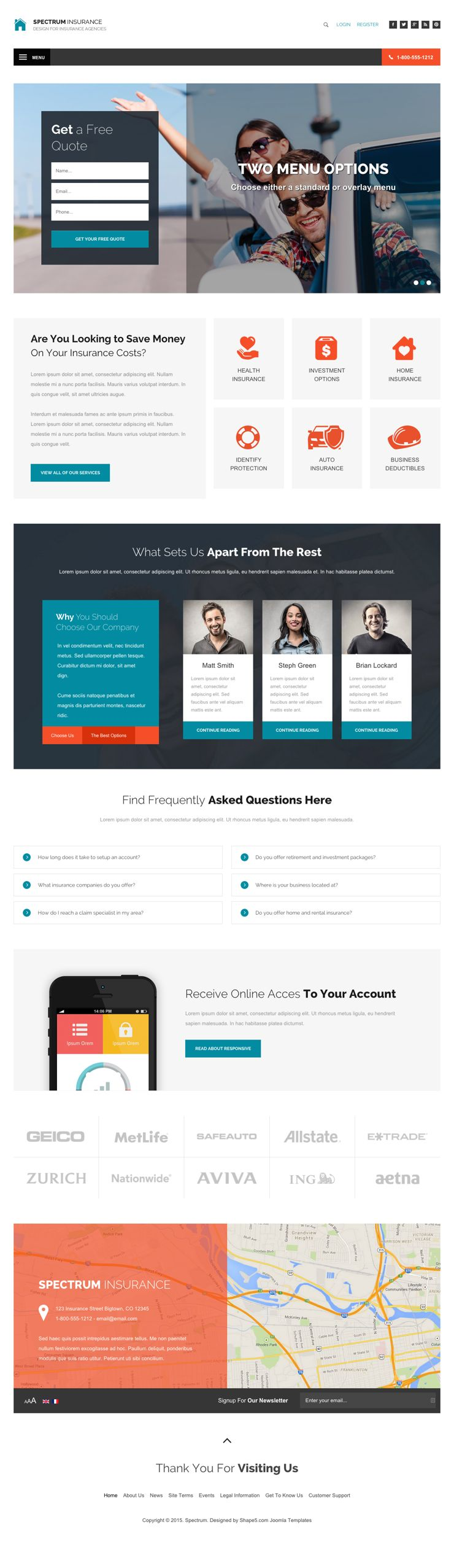 Spectrum joomla insurance company template for Joomla backend templates