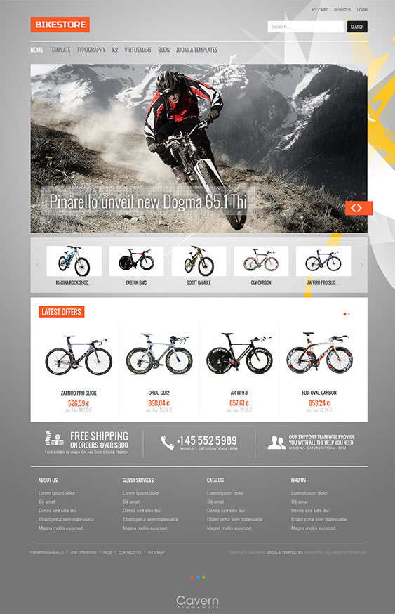 bike store joomla virtuemart theme for e commerce shop. Black Bedroom Furniture Sets. Home Design Ideas