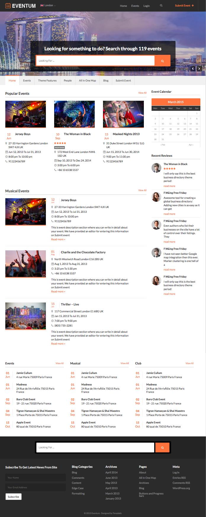 Eventum WordPress Events-Portal-Directory-Theme