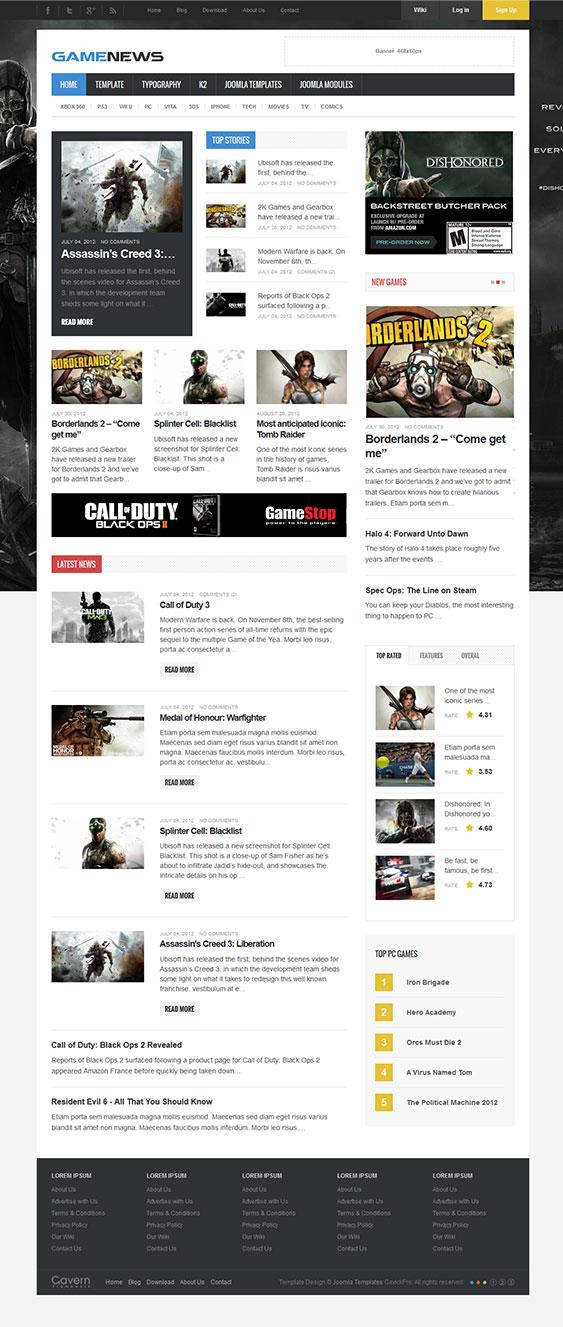 Game News Joomla Gaming Magazine Or Reviews Template