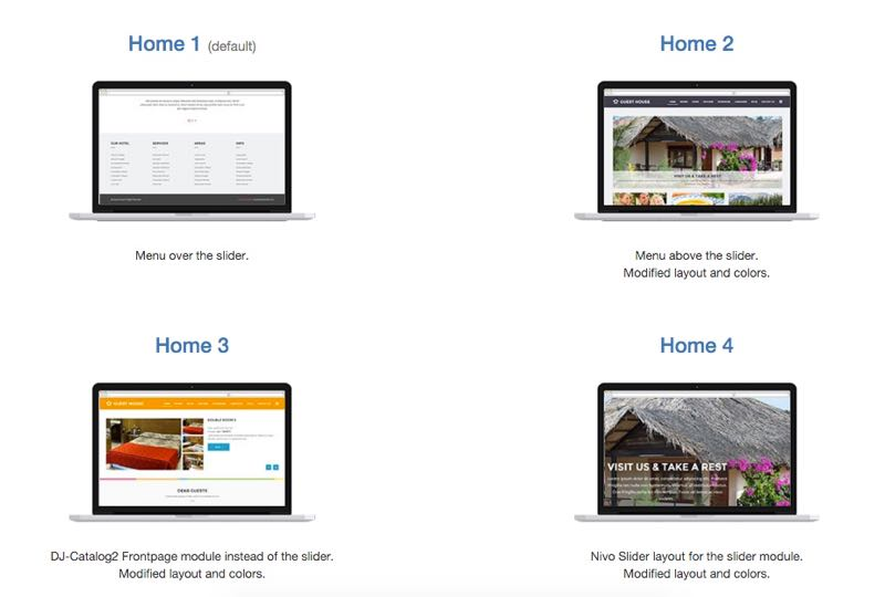 4 Pre-built Homepage Designs