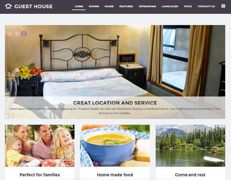 JM Guest House Template – Homepage Design 2