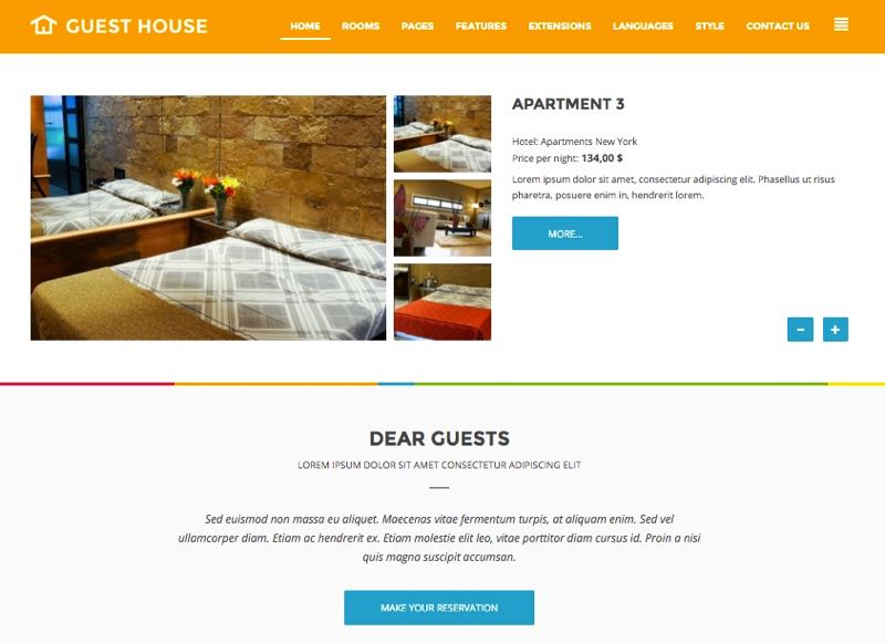 JM Guest House Template – Homepage Design 3