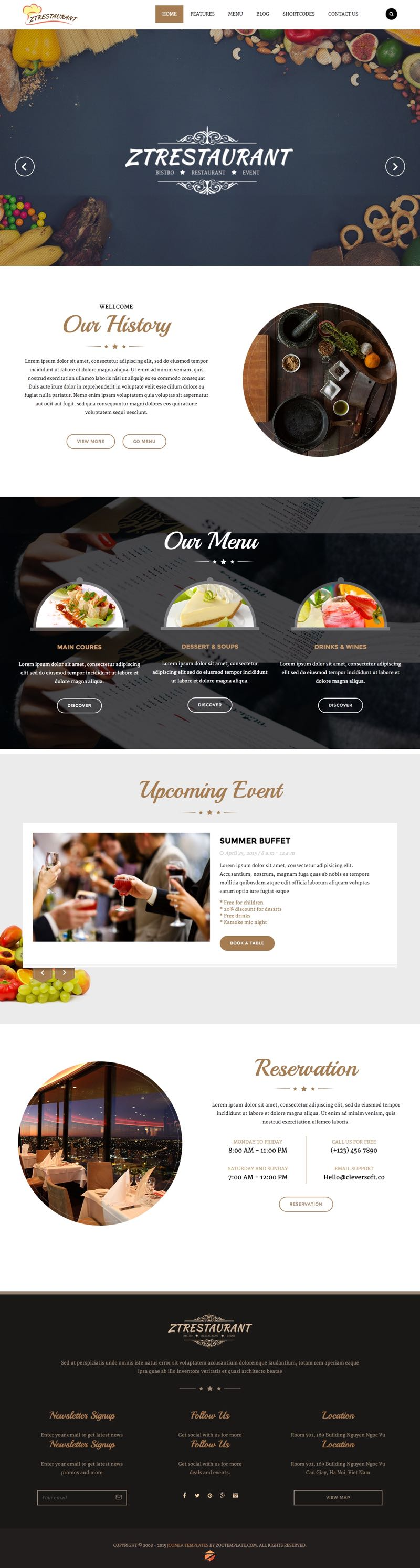 ZT Restaurant Joomla Food : Hotel Template
